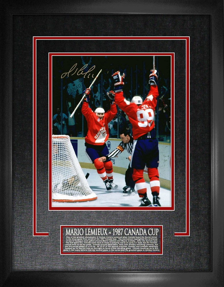 Mario Lemieux - Signed 16x20 Etched Mat 1987 Canada Cup