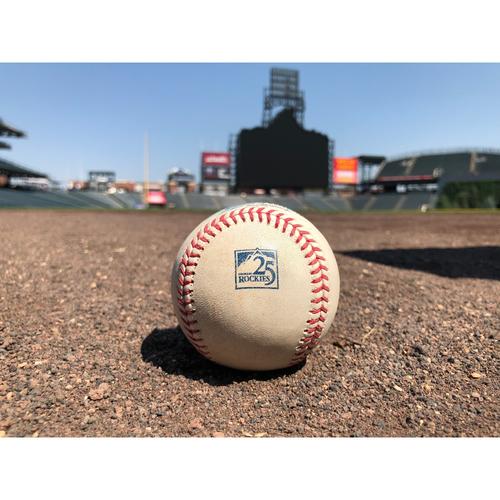Colorado Rockies Game-Used Baseball - Moronta v. Story - Double Play, LeMahieu Scores - July 2, 2018