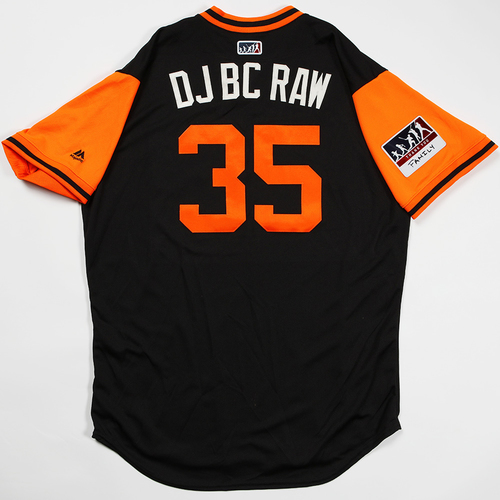 "Photo of Brandon ""DJ BC Raw"" Crawford San Francisco Giants Game-Used 2018 Players' Weekend Jersey"