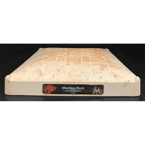 Photo of Game-Used Base: Miami Marlins vs Philadelphia Phillies (July 18, 2018) (2nd Base, 1st-3rd inn.)