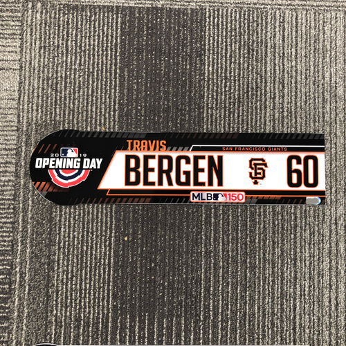 Photo of 2019 Opening Day Game-Used Locker Tag - #60 Travis Bergen
