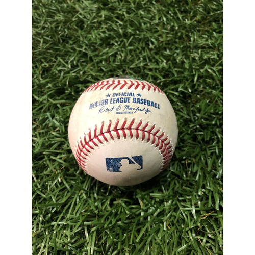 Photo of Game Used Baseball: David Fletcher fly out, Mike Trout pop out and Shohei Ohtani at-bat against Emilio Pagan - June 14, 2019 v LAA
