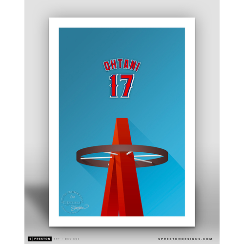 Photo of Minimalist Angel Stadium Shohei Ohtani Player Series Art Print by S. Preston - Limited Edition