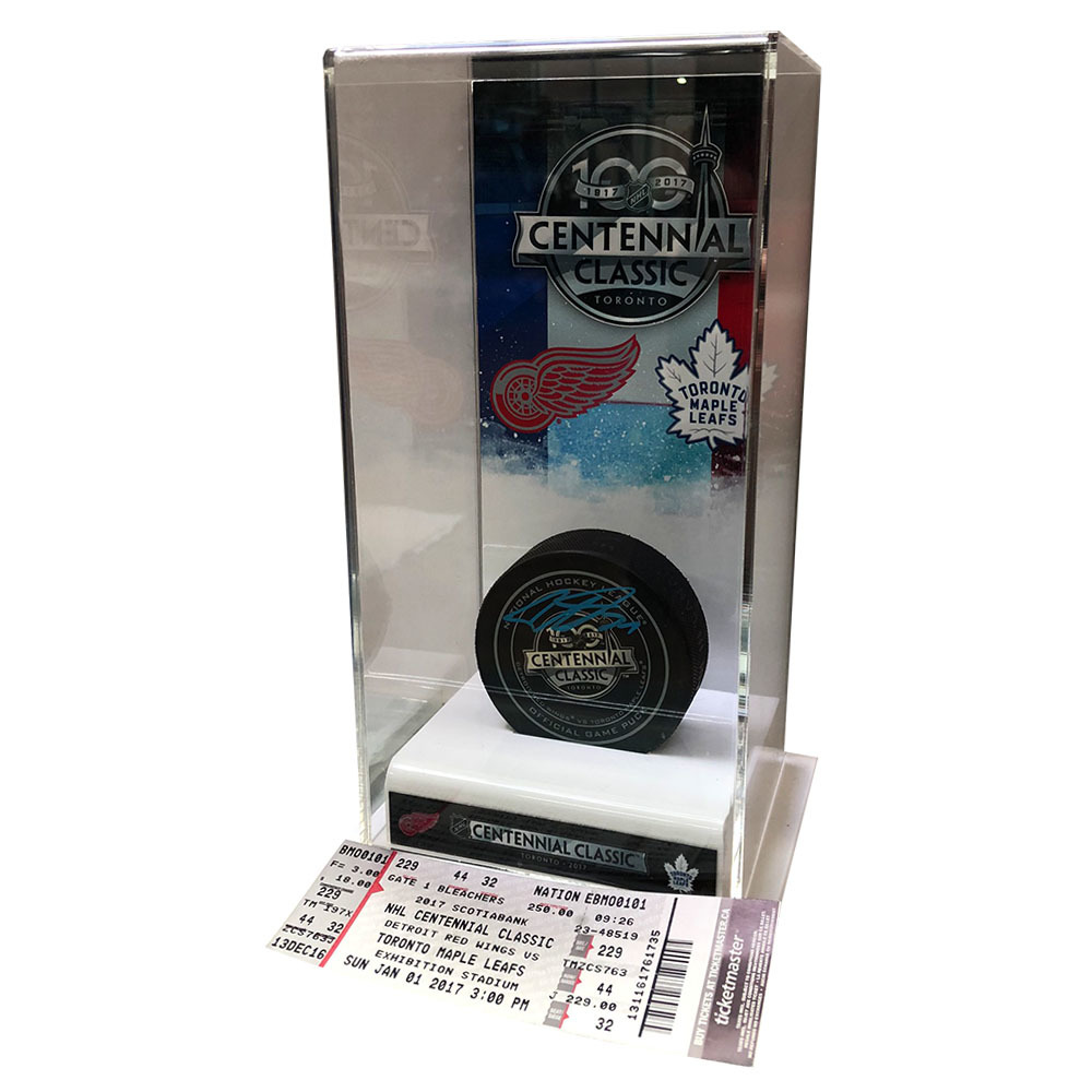 Auston Matthews Autographed Centennial Classic Official Game Puck w/Commemorative Display Case & Game Ticket