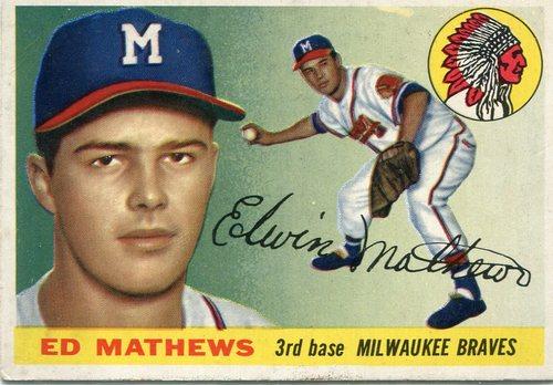 Photo of 1955 Topps #155 Eddie Mathews -- Hall of Famer