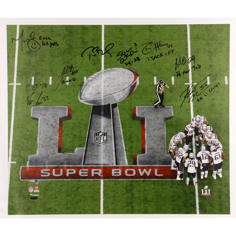 New England Patriots Stretched Multi Autographed and Inscribed 20