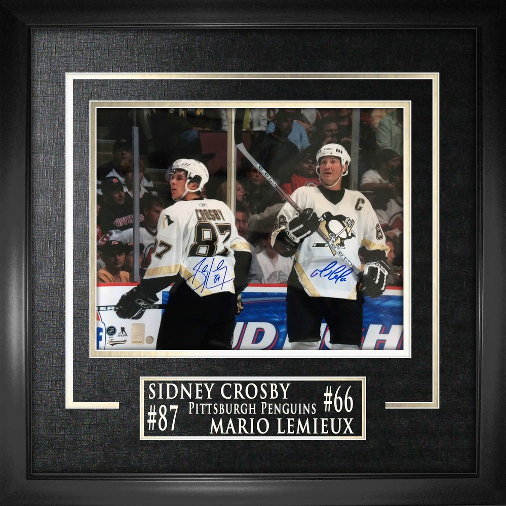 Sidney Crosby & Mario Lemieux - Dual-Signed 16x20 Etched Mat Action