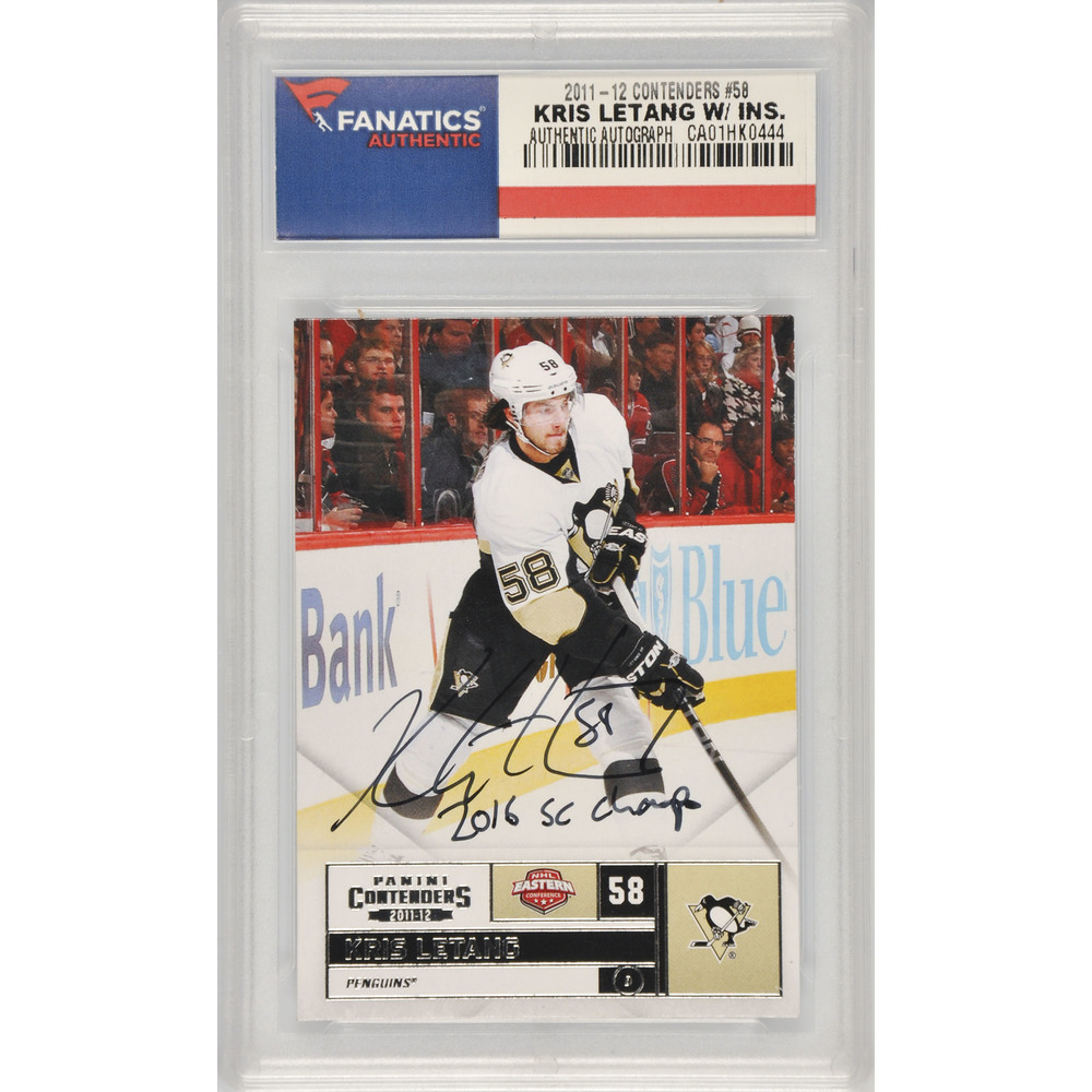 Kris Letang Pittsburgh Penguins Autographed 2011-12 Panini Contenders #58 Card with 2016 SC Champs Inscription