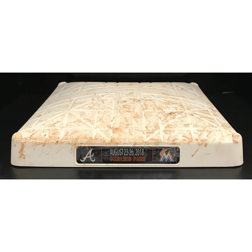 Photo of Game-Used Base: Miami Marlins vs Atlanta Braves (August 24, 2018,1st-3rd inn.)