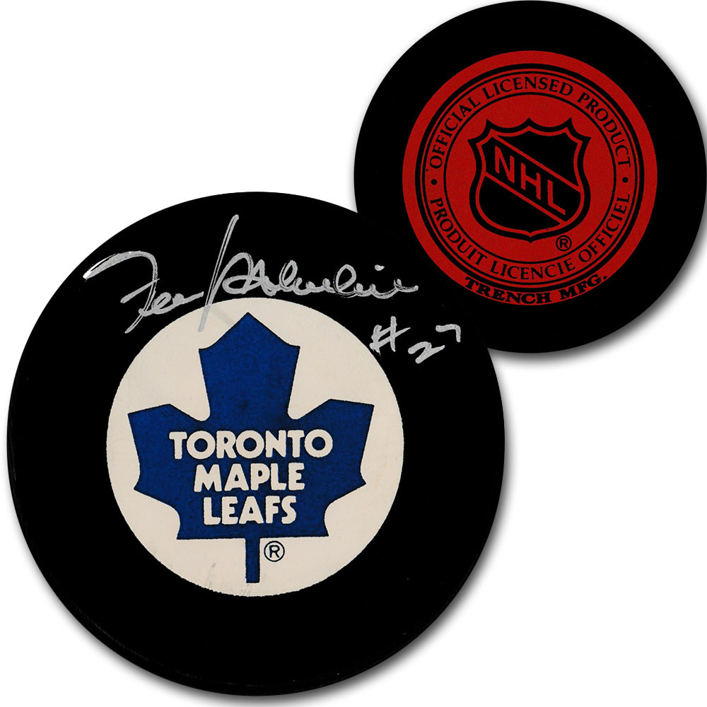 Frank Mahovlich Autographed Toronto Maple Leafs Vintage Trench Puck