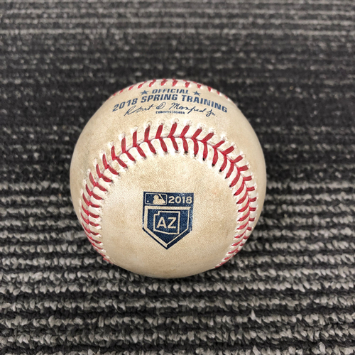 Photo of 2018 Spring Training Game Used Baseball - 3/17/18 vs. Oakland A's - B-4: Andrew Triggs to Joe Panik - Pitch in the Dirt