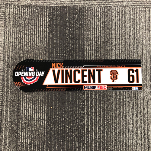 Photo of 2019 Opening Day Game-Used Locker Tag - #61 Nick Vincent