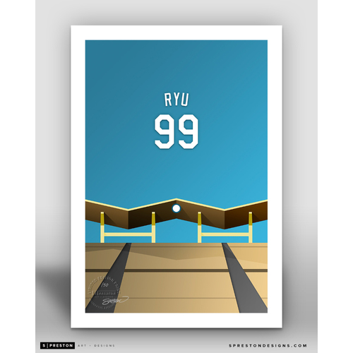 Photo of Minimalist Dodger Stadium Hyun-Jin Ryu Player Series Art Print by S. Preston - Limited Edition