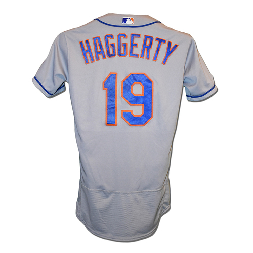 Photo of Sam Haggerty #19 - Game Used Road Grey Jersey - Mets vs. Reds - 9/20/19