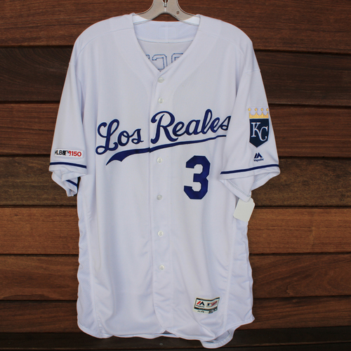 Photo of Game-Used Los Reales Jersey: Ned Yost (Size 50 - MIN @ KC - 6/21/19)