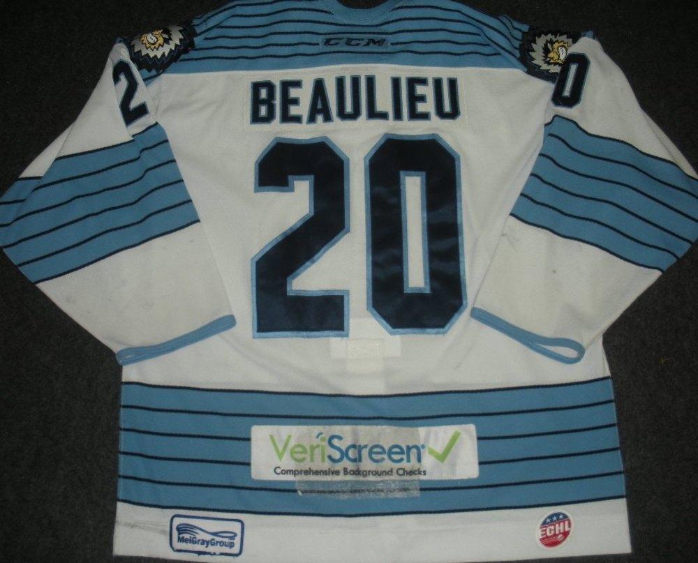 c1e3b6c54 Josh Beaulieu - Evansville IceMen - 2014 ECHL Captains  Club Jersey ...