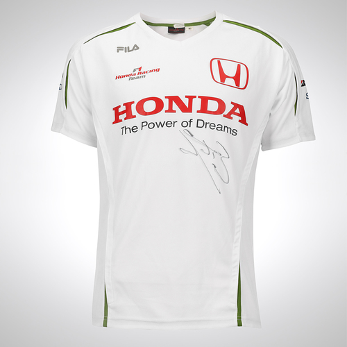 Photo of Jenson Button Signed 2008 Honda F1 Team Shirt