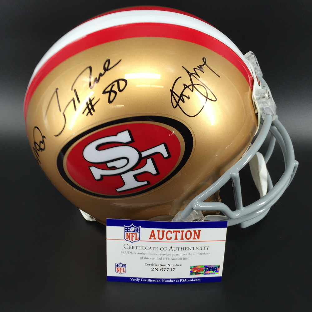 Jerry Rice, Joe Montana, Steve Young signed 49ers Proline Helmet