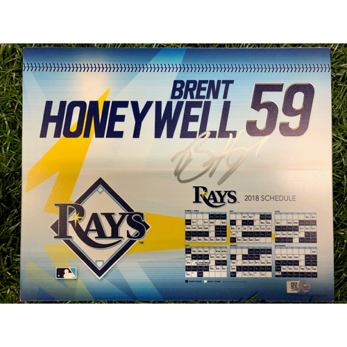 Photo of Rays Baseball Foundation: Team Issued Autographed Locker Tag - Brent Honeywell - 2018 Season