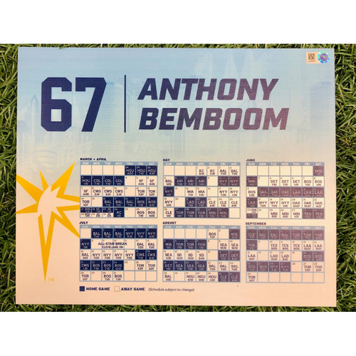 Photo of Rays Baseball Foundation: Team Issued Locker Tag: Anthony Bemboom - Rookie Season -2019 Season