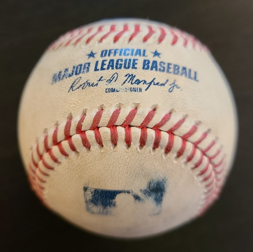 Photo of Authenticated Game Used Baseball: Single by Gary Sanchez against Trent Thornton (Apr 14, 2021 vs NYY). Top 6. Game played in Dunedin, FL.