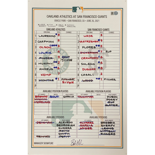 Photo of Game-Used Dugout Lineup Card: Athletics @ Giants 6/26/21 (Chapman HR #10)