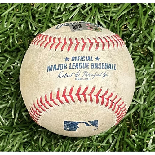 Photo of Game Used Baseball: Jose Trevino flyout, Joey Gallo single & Adolis Garcia strikeout by Jeffrey Springs - Top 7 - April 15, 2021 v TEX