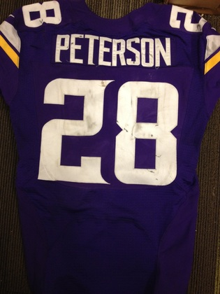 NFL Auction | ADRIAN PETERSON GAME WORN VIKINGS JERSEY OCTOBER 13, 2013
