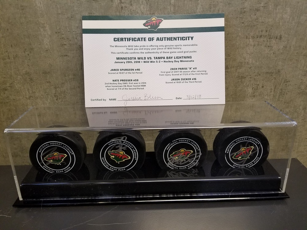 Wild Game Used Goal Puck-Hockey Day Minnesota 2018