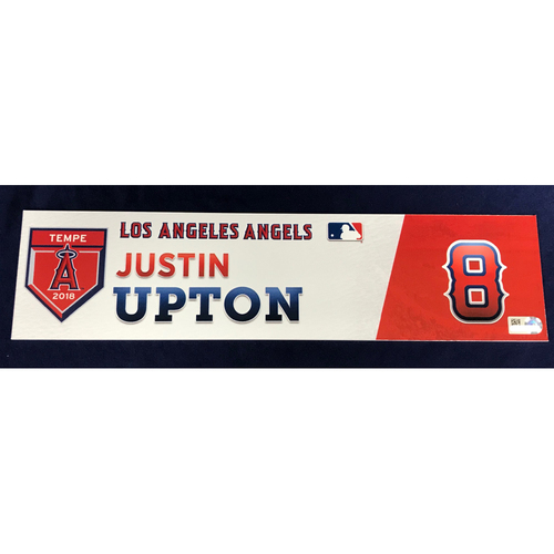 Photo of Justin Upton 2018 Spring Training Locker Tag