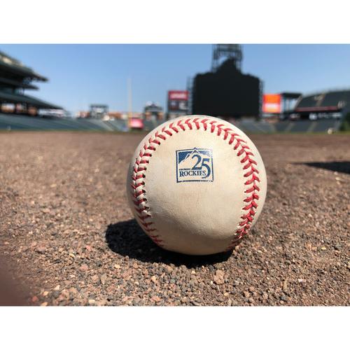 Photo of Colorado Rockies Game-Used Baseball - Moronta v. Desmond - Error by Crawford, Blackmon Scores - July 2, 2018