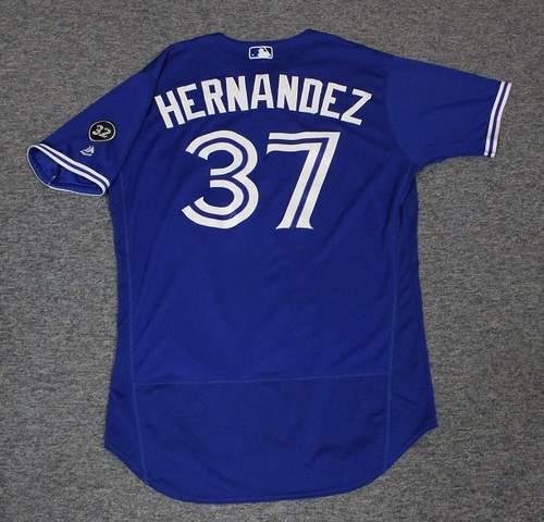Photo of Authenticated Game Used Jersey - #37 Teoscar Hernandez (June 9, 2018: 1-for-5 with 1 Double and 1 RBI. June 11, 2018: 2-for-4 with 1 HR, 1 Run and 2 RBIs. July 12, 2018: 2-for-4 with 1 HR, 1 Run and 2 RBIs). Size 46.