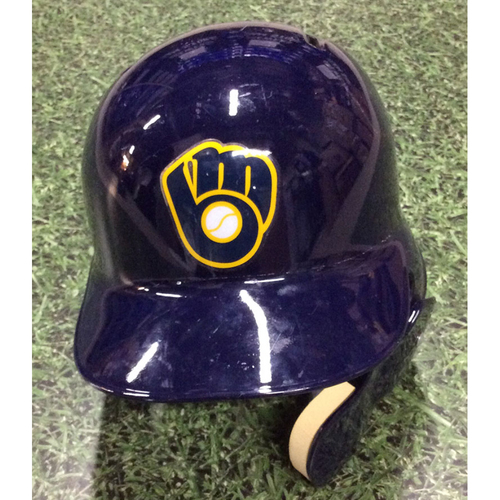 Photo of Lewis Brinson 2017 Team-Issued Navy Ball & Glove Batting Helmet