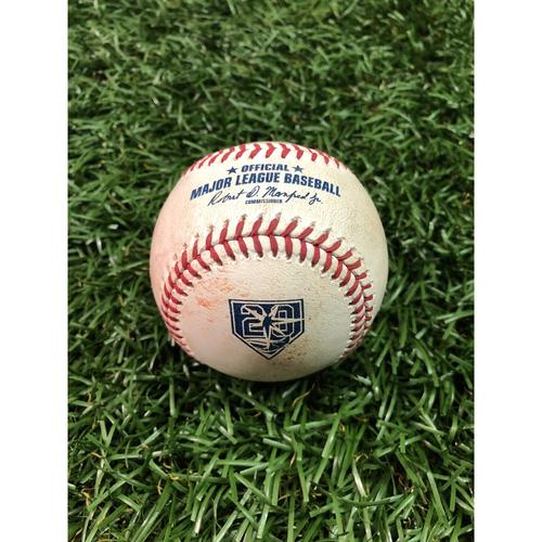 Photo of 20th Anniversary Game Used Baseball: Mallex Smith single off Chris Bassitt - September 15, 2018 v OAK