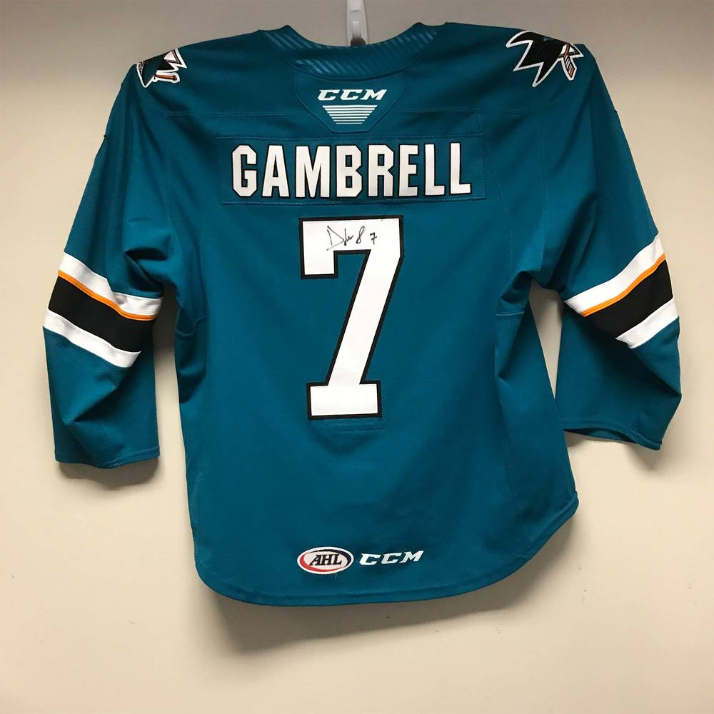 San Jose Barracuda Regular Season Jersey worn and signed by #7 Dylan Gambrell
