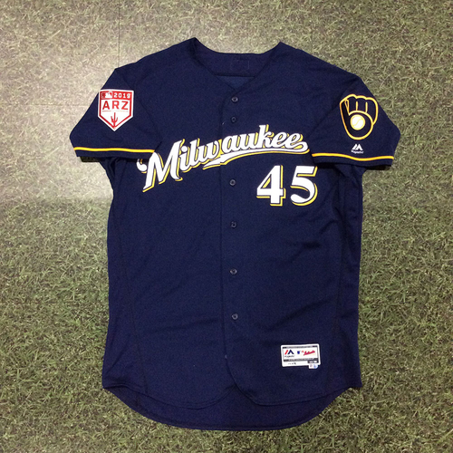 Photo of Jhoulys Chacin 2019 Game-Used Spring Training Jersey