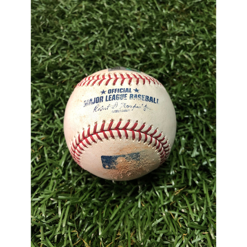 Photo of Game Used Baseball: Daniel Robertson single off Yusmeiro Petit & Wei-Chung Wang strikes out Austin Meadows - June 10, 2019 v OAK