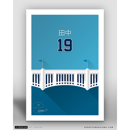 Photo of Minimalist Yankee Stadium Masahiro Tanaka Player Series Art Print by S. Preston - Limited Edition