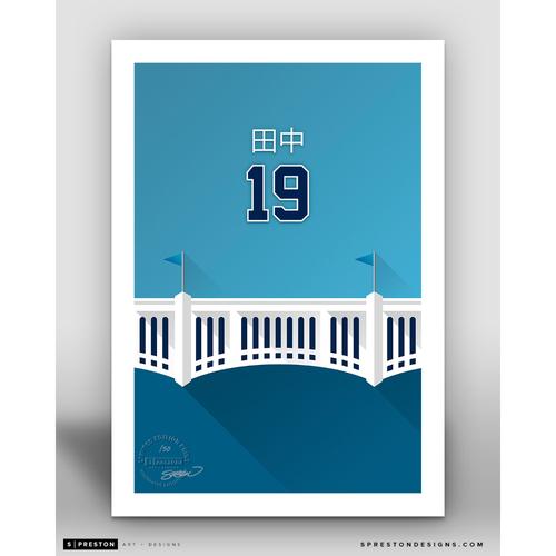 Photo of Minimalist Yankee Stadium Masahiro Tanaka Player Series Art Print by S. Preston - Limited Edition