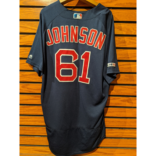 Photo of Brian Johnson Game Used Road Navy Jersey