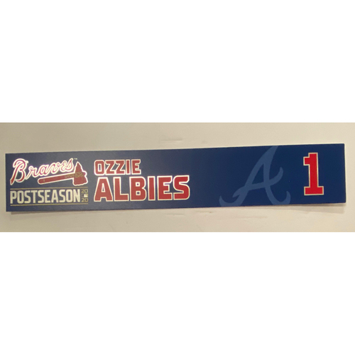 Photo of Ozzie Albies Game-Used 2020 Postseason Locker Nameplate - September 30, 2020 - Wild Card Game 1