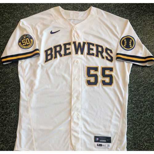 Photo of Marcus Hanel 2020 Game-Used Home Opener Jersey