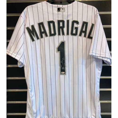 Photo of Nick Madrigal Autographed White Pinstripe Jersey - Size 42