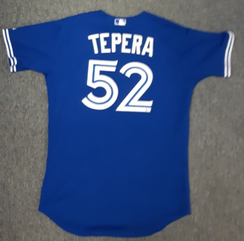 Photo of Authenticated Game Used Jersey - #52 Ryan Tepera (September 30, 2015 - Blue Jays clinch AL East). Size 46