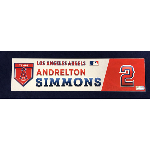 Photo of Andrelton Simmons 2018 Spring Training Locker Tag