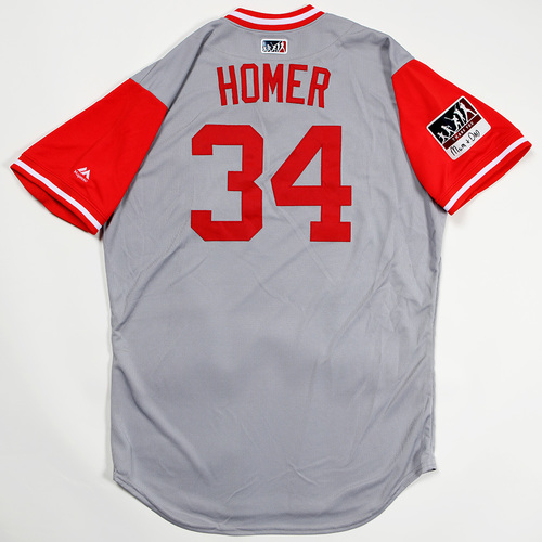 "Photo of Homer ""Homer"" Bailey Cincinnati Reds Game-Used 2018 Players' Weekend Jersey"