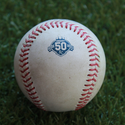 Photo of Game-Used Baseball: Yonder Alonso 813th Career Hit and 388th Career RBI (CLE @ KC - 9/28/18)