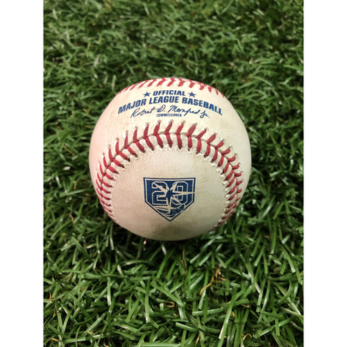 Photo of 20th Anniversary Game Used Baseball: Brad Miller 2RBI double off Kevin Gausman - May 27, 2018 v BAL
