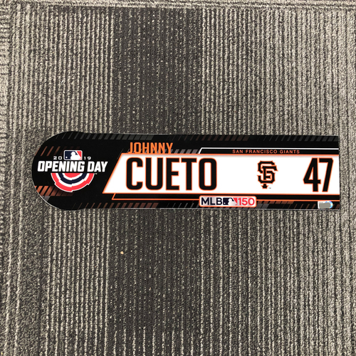 Photo of 2019 Opening Day Team-Issued Locker Tag - #47 Johnny Cueto
