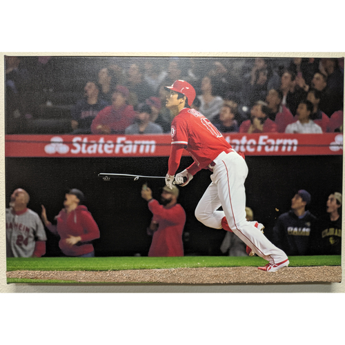 Photo of Shohei Ohtani 1st Home Run Photo Canvas With Batters Box Dirt